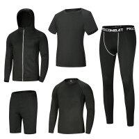 健身套装男运动跑步衣服速干紧身衣训练服5件套男士健身房健身服