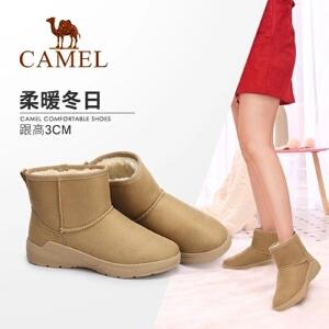 Camel/骆驼女鞋 2018冬季新品简约舒适保暖雪地靴女棉鞋加绒短靴