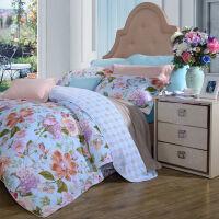 【限时直降】安娜家纺 四件套纯棉斜纹花卉床品双人被套套件 新品 那些花儿 蓝色 1.8米(6英尺)床