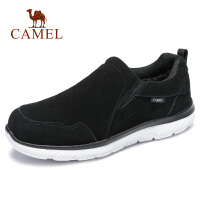 camel骆驼男鞋 秋季新品加绒保暖健步运动鞋休闲反绒牛皮散步鞋