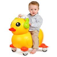 儿童扭扭车带音乐静音轮大黄鸭溜溜车滑行学步宝宝车子玩具可坐人