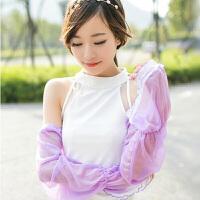 20191213050040307夏季雪纺蕾丝素色防晒袖套手套 简约长款遮阳防紫外线