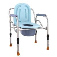 不锈钢坐便椅老人孕妇坐便器移动坐便凳便携式马桶塑料座便器 浅蓝色升级加固 804-3