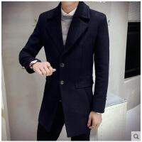韩版时尚新款港风男士中长款呢子风衣外套修身毛呢大衣青年休闲商务男装潮