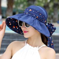 户外女士防晒太阳帽 沙滩可折叠凉帽遮脸帽 韩版大檐帽子女士遮阳帽