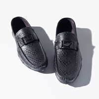 纯色 树叶金属扣 鳄鱼纹牛皮男士皮鞋 M801N078