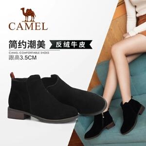Camel/骆驼女鞋 2018冬季新品时尚英伦简约粗跟拉链舒适保暖靴子