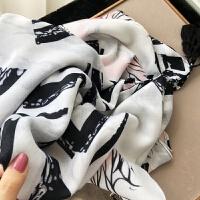 简约风格秋冬季韩版百搭黑白几何波浪纹长款棉麻手感围巾披肩两用