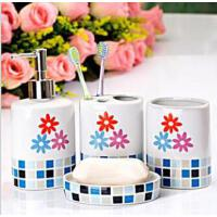 欧式陶瓷卫浴洗漱用品套装 浴室卫浴四件套蓝色