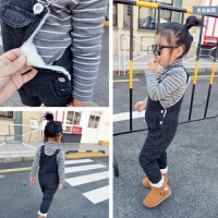 女童背带裤加绒长裤韩版童装装男童宝宝儿童秋牛仔裤3-4岁2 黑色