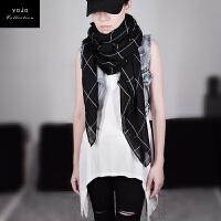 棉麻围巾女春秋冬季新款韩版围脖百搭长款两用披肩丝巾英伦格子 黑色