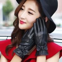 皮手套女士秋冬季开车户外骑车触屏加绒加厚防寒防风保暖韩版可爱 均码