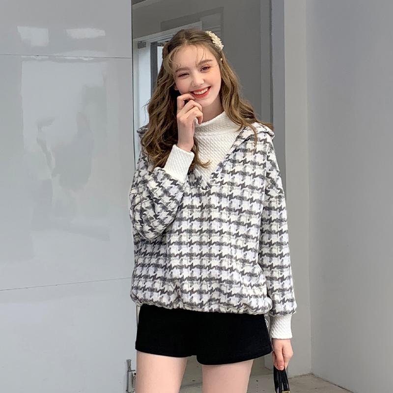MG小象韩版宽松连帽长袖上衣女2019新款潮冬季学生套头假两件卫衣