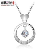 相思树 纯银项链 女 韩版时尚 心形圆环镶钻吊坠925纯银 锁骨链 XL122