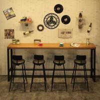 美式铁艺实木家用吧台桌椅奶茶店靠墙长条酒吧桌复古高脚桌椅
