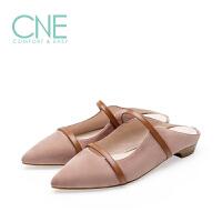 CNE2019春夏款拖鞋女外穿晚晚鞋一字带拼色穆勒鞋女拖鞋9M14301