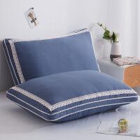 立体蕾丝枕芯羽丝枕护颈枕水洗棉枕头芯酒店枕头一对拍二 贵族蓝 双边(一只装)