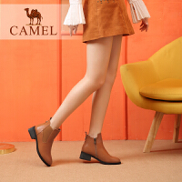 camel骆驼女鞋冬季新款百搭英伦切尔西靴休闲中跟粗跟秋单靴短靴女