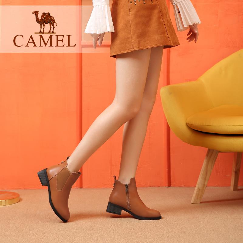 camel骆驼女鞋2018冬季新款百搭英伦切尔西靴休闲中跟粗跟秋单靴短靴女