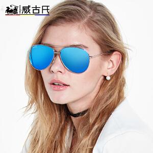威古氏墨镜女太阳镜女潮新款偏光开车圆脸彩膜蛤蟆镜女眼镜
