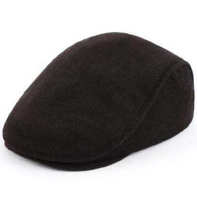 男士冬季帽子中老年冬天毛呢鸭舌帽户外保暖老头帽