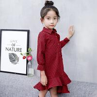 童装女童连衣裙长袖2018春季新款儿童裙子韩版格子衬衫洋气连衣裙