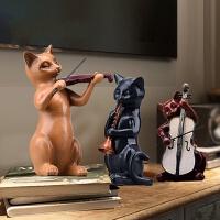 客厅酒柜书柜摆件创意简约欧式家装房间卧室电视柜个性音乐猫摆设 音乐猫 长10x宽10x高19