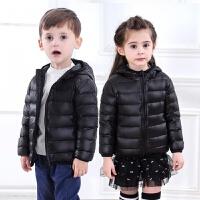 连帽羽绒服男童女童宝宝轻薄短款子童装外套中大童反季 黑色 90cm