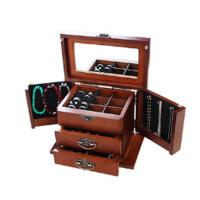复古饰品首饰收纳盒结婚情人礼物实木锁扣首饰盒