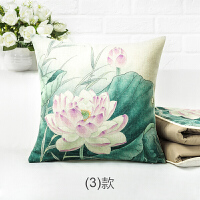 荷花抱枕被子两用中式红木沙发靠垫中国风莲花客厅靠枕枕头被 0x48cm【抱枕被】