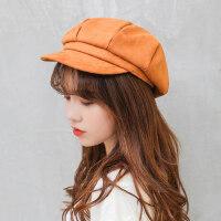 时尚百搭女士pu皮帽子 日系潮八角帽子女英伦风帽子 韩版纯色鸭舌贝雷帽