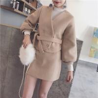时髦套装裙女秋冬韩版小香风毛呢开衫短外套+高腰半身裙两件套潮