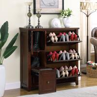 美式鞋柜实木收纳多功能欧式换鞋凳家用门口简易翻斗大容量储物凳 整装