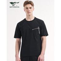 七匹狼旗下圣沃斯短袖T恤男士潮流时尚百搭休闲新品夏季T恤 001(黑色)