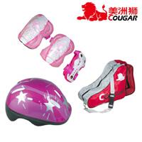 美洲狮 轮滑溜冰鞋 旱冰鞋背包 儿童头盔 护具全套装