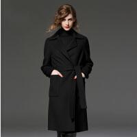 【支持礼品卡支付】冬季款时尚大码女装毛呢大衣女中长款风衣毛呢外套