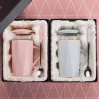 创意简约陶瓷杯子带盖勺韩版情侣一对马克杯家用牛奶杯女学生水杯