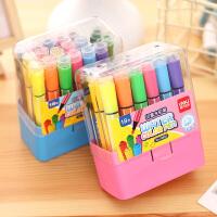 得力文具水彩笔36色套装儿童幼儿园可水洗彩色画笔24色水彩笔