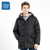 [每满400减150]真维斯棉服男2018冬装新款男士中长款棉衣外套