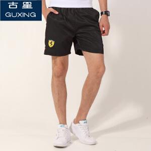 古星运动短裤男夏透气大码涤纶运动裤运动跑步休闲短裤宽松五分裤