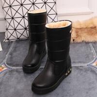 雪地靴女2018新款冬季保暖中筒靴加厚防水防滑皮面学生加绒女靴子