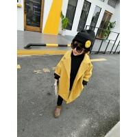 女童毛呢大衣韩版单排扣加厚新款秋装宝宝中长款秋儿童呢子外套 姜黄色