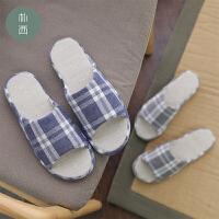朴西 四季情侣家居室内棉麻防滑拖鞋男夏季简约家用日式软底男士
