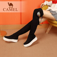 camel骆驼女鞋冬季新品长靴女 运动底保暖弹力绒布厚底过膝靴子
