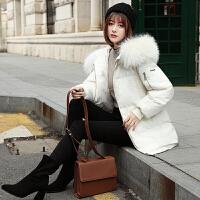 羽绒服女2018冬季新款加厚外套大毛领欧韩版宽松修身中长款潮