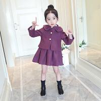 童装新款女童秋呢子外套背心裙子两件套装韩版儿童中小童新年装