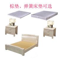 白色实木床橡木1.8米主卧室新中式双人高箱储物大床1.5米婚床 床+床垫+2床头柜 市区送货到家安装