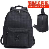 男士帆布双肩包韩版潮休闲背包学生书包电脑包防水尼龙包旅行背包