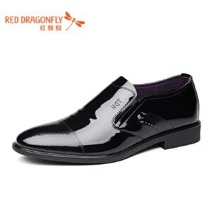 红蜻蜓皮鞋2017年春秋新款男鞋商务正装单鞋真皮套脚办公室低帮鞋