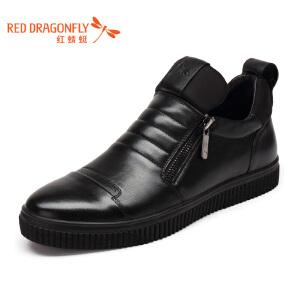 红蜻蜓男鞋 冬季新款皮鞋潮流商务休闲单鞋真皮头层牛皮正品皮鞋